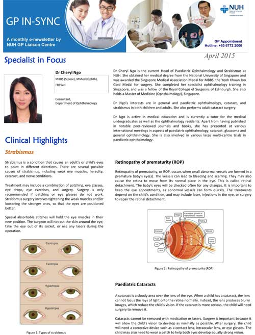 eye specialist media articles - NUH GP-In-Sync April 2015