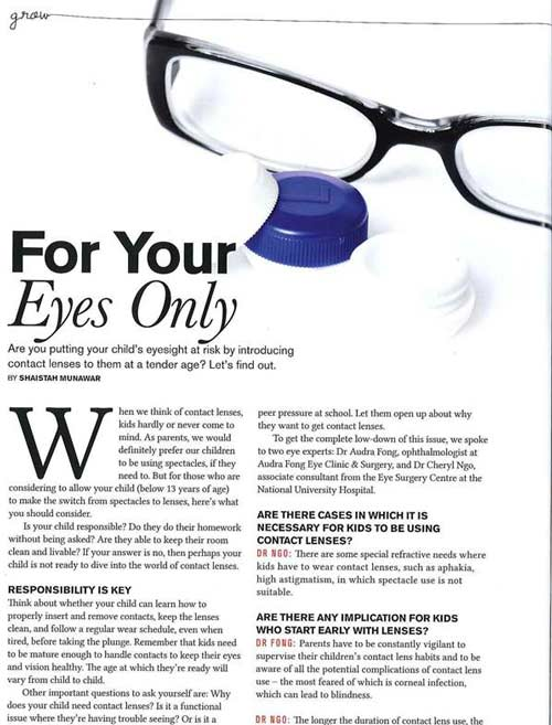 eye specialist media articles - Singapore's Child October 2014
