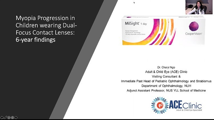 Dr Cheryl Ngo presentation slide on MiSight clinical study